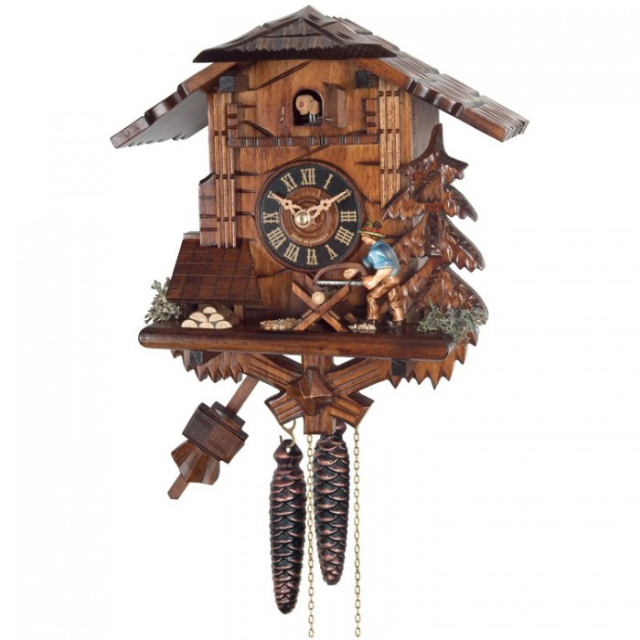 34-10 One Day Cuckoo Clock Cottage Man Sawing Wood House of Clocks Morgantown Indiana
